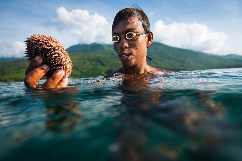 Badjao fisherman with sea urchin