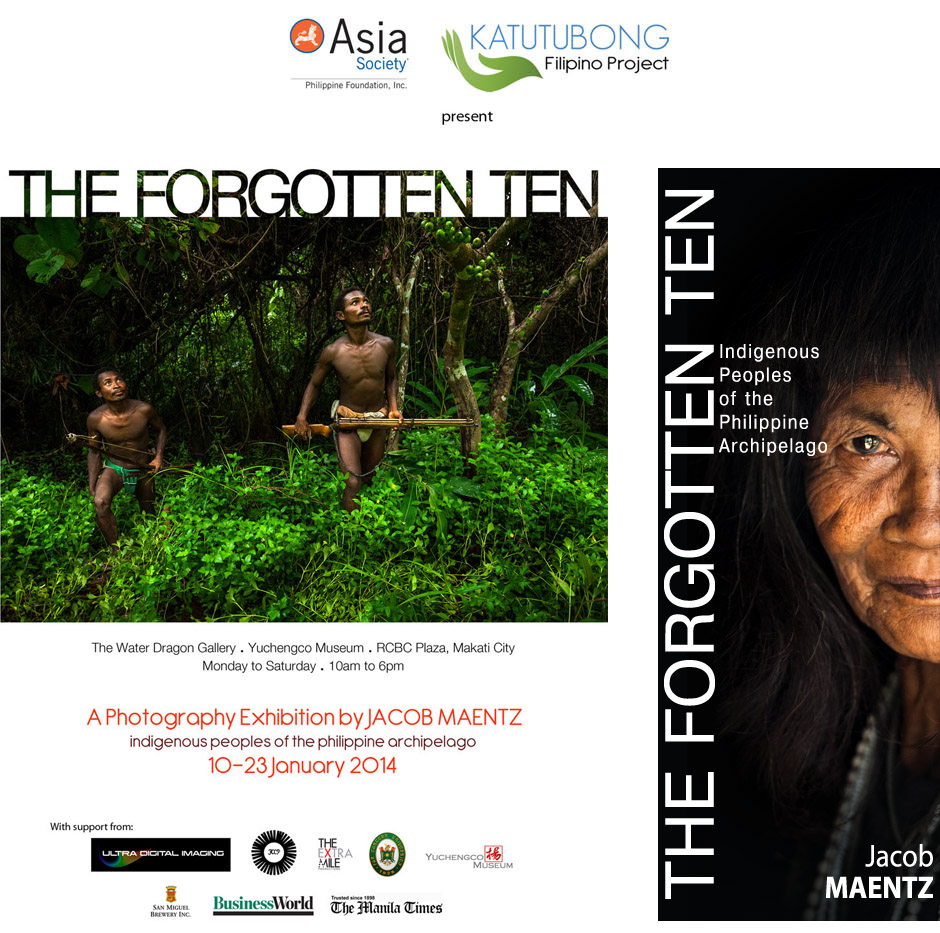 The Forgotten Ten showcased a year and a half of Jacob Maentz's documentary work from various indigenous communities around the Philippines. In partnership with Asia Society Philippines, the exhibition gave an inside and depictive look into the diverse and culturally rich lives of our nations often forgotten people, featuring images of their everyday life, culture and traditions. 'The Forgotten Ten' refers to the estimated 10 to 20 percent of the Philippine population considered indigenous and the exhibit highlighted groups such as the Badjao, Agta, Mangyan, Tagbanua, Manobos, Kalinga, Applai, Pala'wan and more. The aim of the exhibit was to educate and help foster a heightened appreciation for our indigenous brothers and sisters while emphasizing their major struggles to self-determination.