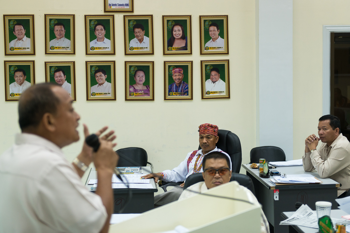Datu Onlos attending a weekly city council meeting in Tagum City